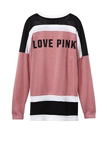 VS Pink Victoria's Secret Pink Varsity Crew Pullover Colorblock Sweatshirt Small Begonia (Victorias Secret Slouchy Crew)