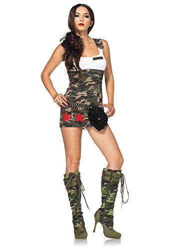 GTH Women's Combat Cutie Camouflage Military Army Outfit Sexy Costume, L (12-14) (Sexy Camo Outfits)