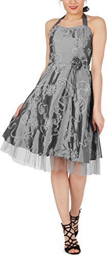 Black Butterfly Robe De Bal Imprimé Floral Cherish 'Rita' (Argent, FR 50 - 4XL)