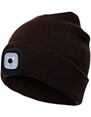 PRAVETTE LED Lighted Beanie Hat, USB Rechargeable Hands Free Hat with Light for Camping Fishing, Winter Warmer Gift for Men,Women