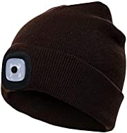PRAVETTE LED Lighted Beanie Hat, USB Rechargeable Hands Free Hat with Light for Camping Fishing, Winter Warmer