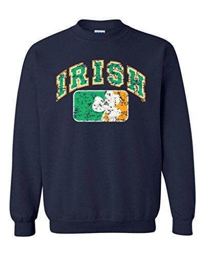 [Artix Vintage Irish Flag Shamrock Crewnecks Saint Patrick's Day Sweatshirts Medium Navy Blue] (Navy Blue Irish Water)