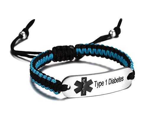 JF.JEWELRY Pre-Engraved Type 1 Diabetes Medical Alert ID Bracelet for Men Women Nylon Rope Braided Adjustable-Black