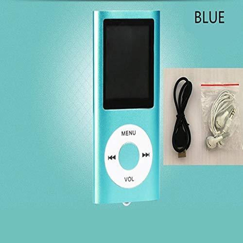 (Mp3 Player Music Radio FM Recorder Speler Lecteur HiFi Mp3 Sport Clip USB Aux Digital Led LCD Screen(Blue))