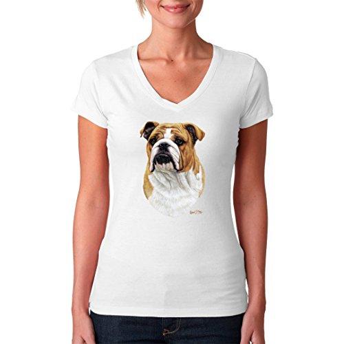 Fun Girlie V-Neck Shirt - Hunde T-Shirt: Bulldogge by Im-Shirt Weiß 3mNCX