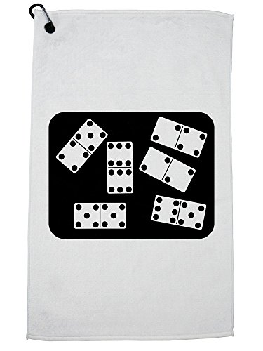 (Hollywood Thread Dominoes on Domino Table - Ready to Play a Game Golf Towel with Carabiner Clip )