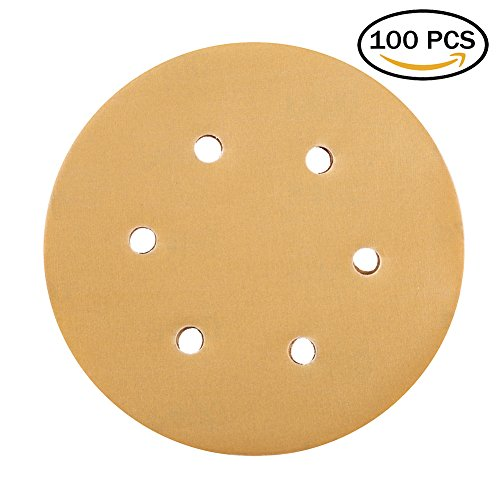 Sanding Disc 400 Grit 6-Inch 6-Hole Sandpaper - LotFancy Hook and Loop Orbit Sander Paper, Pack of 100 (400 Grit Sandpaper Disc)