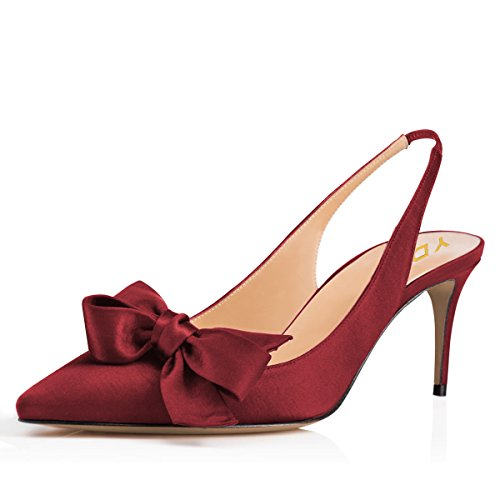 YDN Women Slingback Low Heels Pumps Pointed Toe Satin Prom Party Evening Dress Shoes Wine Red 9.5 - Red Pointed Toe Slingback Shoes