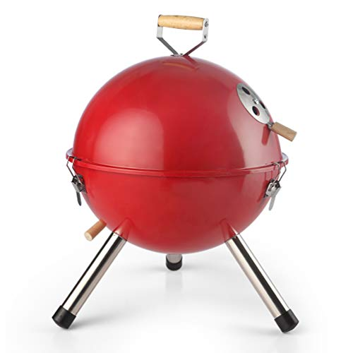 - DE.KITCHEN&HIFUN Charcoal Grill, Red 12 Inch Portable Grills, Durable Lightweight BBQ Grill with Thermal Control System, Outdoor Indoor Grill for Camping Barbecue, Idea for Kids Women