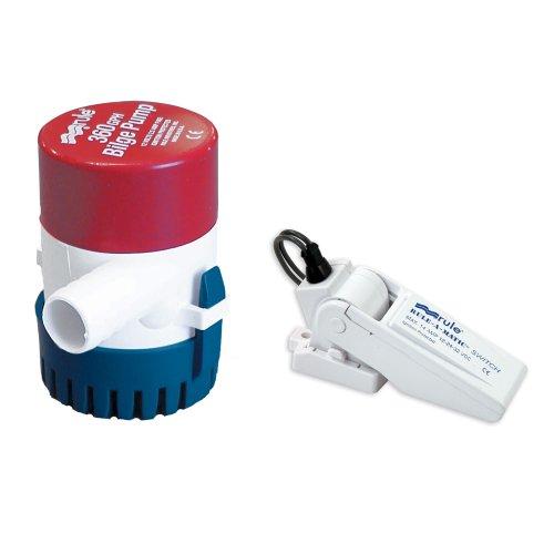 - Rule 24-35A Marine Rule 360 Marine Bilge Pump with Mercury Free Rule-A-Matic Float Switch (360-GPH, 12-Volt),Red/White/Blue