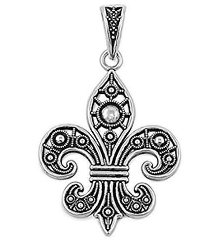 (Fleur De Lis Pendant .925 Sterling Silver Filigree Charm Jewelry Making Supply Pendant Bracelet DIY Crafting by Wholesale Charms)