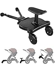 Universal 2in1 Stroller Ride Board with Detachable Seat, Adjustable Size Stroller Glider Board Suitable for Most Brands of Strollers, Holds Children Up to 55lbs