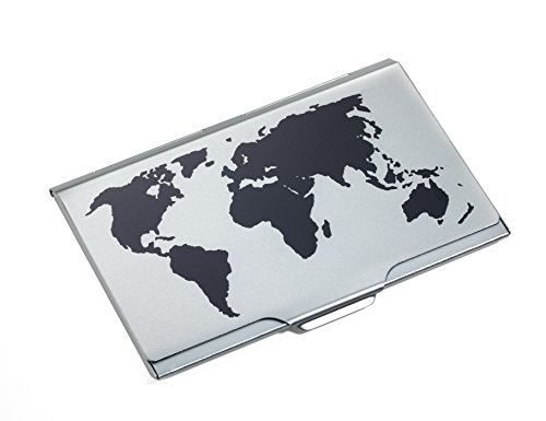 TROIKA Global Contacts - CDC15-02BK/TI - Business Card case with Embossed World map on lid - Light-Weight- Holds Approx. 10 Cards - Aluminium - TROIKA-Original