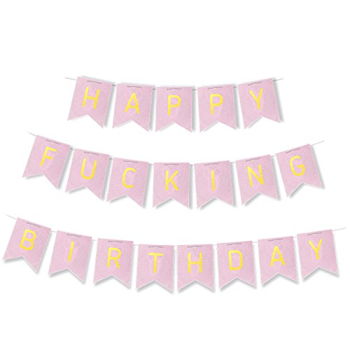 "Birthday Party Banner – ""Happy F*cking Birthday"" Letter Bunting Flags, Pennant Banner Flags, Birthday Party Garland Decorations, Adult Party Supplies, Pink, 15.5 Feet"
