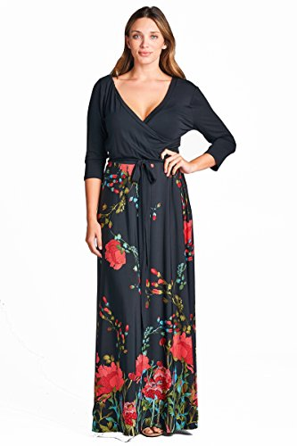 - On Trend Women's Paris Bohemian V-Neck Printed 3/4 Sleeve Faux Wrap Long Maxi Resort Dress (Small, Black Red)
