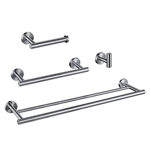 Hoooh 4-Piece Bathroom Accessories Set Brushed Stainless Steel Wall Mount - Includes Double Towel Bar, Hand Towel Rack, Toilet Paper Holder, Robe Hooks, BS100S4-BN ()