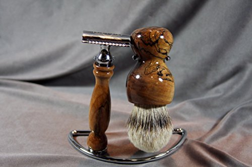 Maple Burl Shaving Set w/ AAA Badger Hair Brush by Wood Razor