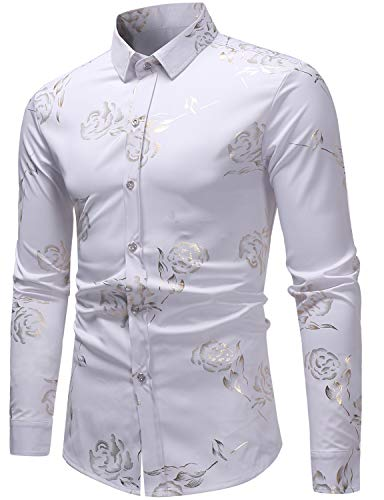 ZEROYAA Mens Hipster Gold Rose Printed Slim Fit Long Sleeve Dress Shirts/Prom Performing Shirts Z56 White Large