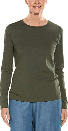Coolibar UPF 50+ Women's Long Sleeve Everyday T-Shirt - Sun Protective (Medium- Deep Olive)