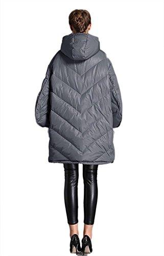 señoras medio de prueba viento abrigo algodón mantener capucha suelto gray cremallera tipo chaqueta de abrigo mujeres invierno engrosamiento a del Outwear Las qRvzYAtA