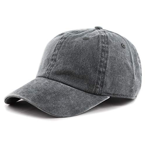The Hat Depot 100% Cotton Pigment Dyed Low Profile Six Panel Cap Hat (Charcoal)