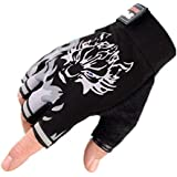 Wolf Silicone anti-slip gloves,Gym Training Sports semi finger gloves for body-building