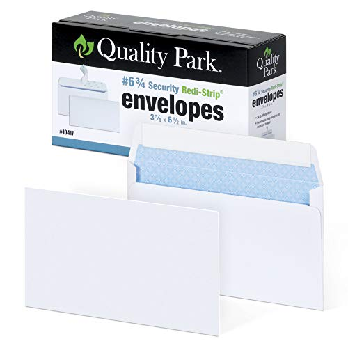 Quality Park #6 3/4 Self-Seal Security Envelopes, Security Tint and Pattern, Redi-Strip Closure, 24-lb White Wove, 3-5/8