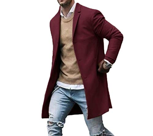 Canrulo Men Trench Coat Wool Slim Fit Notched Collar Overcoat Single Breasted Long Pea Coat Jacket (XXL, Wine -