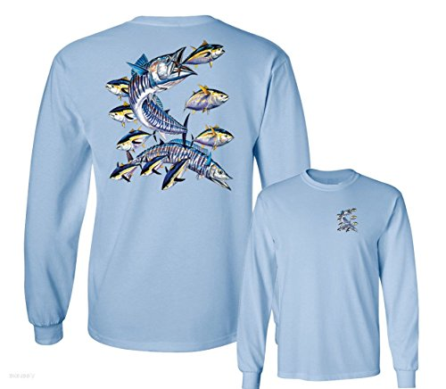 - Wahoo Fish Albacore Yellowfin Tuna Fishing Long Sleeve T-Shirt, Light Blue, XXXL