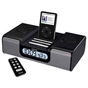 ihome ih5r alarm clock radio for ipod w remote black home kitchen. Black Bedroom Furniture Sets. Home Design Ideas