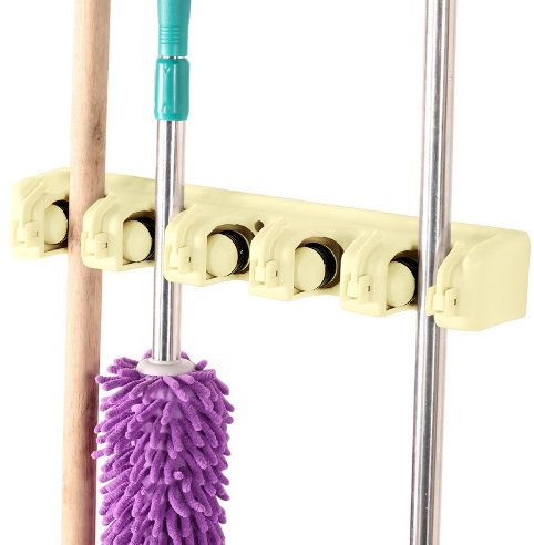 Kitchsmart - Multipurpose Wall Mounted Organizer. Ideal for hanging MOPS, BROOMS, TOOLS, SPORTS EQUIPMENT. The Best Garage Organizer System! (Cream)