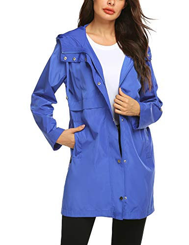 Rain Running Jacket with Hood Pattern Camping Quick-Dry Running Light Rain Coats Blue