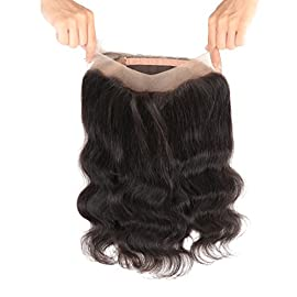Freesia Hair Natural Hairline 360 Lace Frontal Closure With Baby Hair Virgin Human Hair Extension Brazilian Body Wave Full Lace Frontal Band Closure Bleached Knots Natural Black Remy Hair Weave