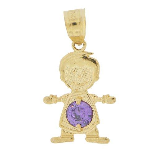 14k Yellow Gold, Small Boy Pendant Charm Violet February Created CZ Birthstone ()