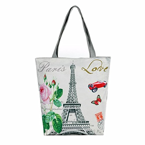 YJYDADA Bag,Vintage Canvas Bag Paris Tower Canvas Tote Casual Beach Bags Women Shopping Bag Handbags (C) from YJYDADA