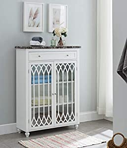 picture of Kings Brand Furniture - Newberry Free Standing Bathroom Storage Cabinet, White