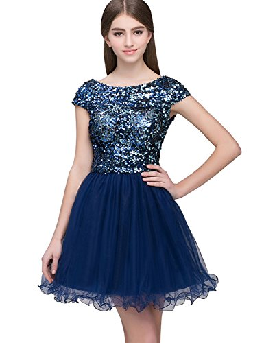 Short Tulle Sequined Homecoming Dress Prom Party Gowns ()
