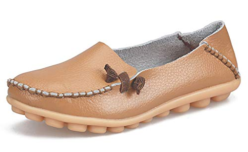 labato Women's Leather Loafers Comfortable Slip on Leather Driving Shoes Casual Flat Shoes(9,Khaki