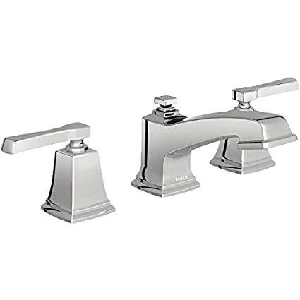 L Moen 84820 Double Handle Widespread Bathroom Faucet From The Boardwalk  Collection Chrome
