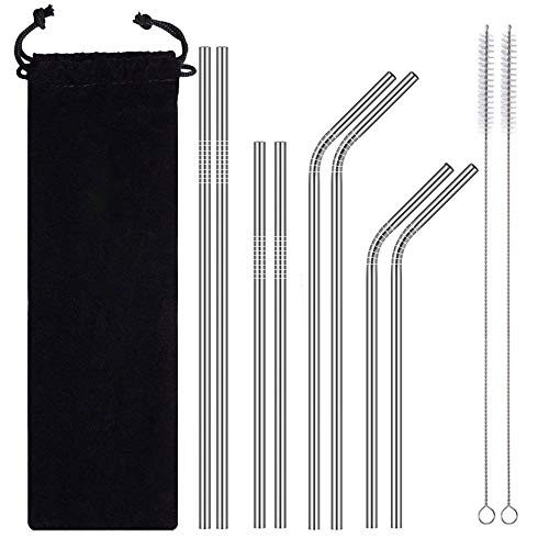 Stainless Steel Straws Long,Reusable Drinking Metal Straws for 20 30 OZ Yeti Tumbler, Water Bottles,Travel Mugs,Cups,Cold Beverage,(4 Straight| 4 Bent| 2 Brushes| 1 Bag) (A)