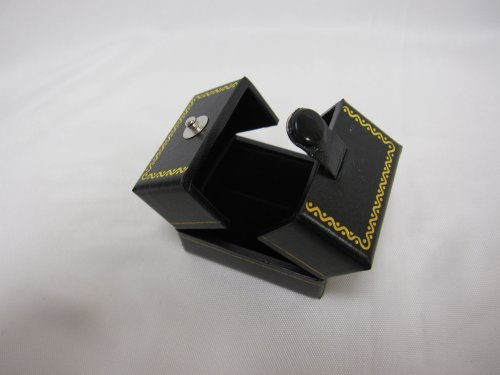 Leatherette Ring Box (Classic Cartier Design Leatherette Black Double Doors Ring Gift Box)