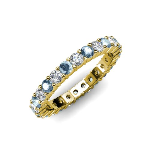 Aquamarine and Diamond Common Prong Eternity Band 2.05 ct tw to 2.45 ct tw in 14K Yellow Gold.size 6.0 (Tw Band 2ct Eternity Diamond)