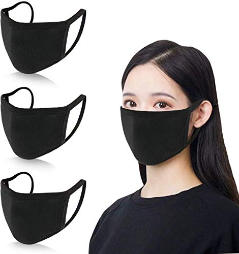 4 Pack Cotton Mouth Mask Anti Dust Mouth Mask,Unisex Black Face Mask Reusable Fashion Mask Anime Face Mask Washable Mask Reusable Mask for Cycling Camping Travel for Adults Men Women