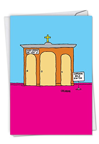 C6190BDG Daily Confession: Humorous Birthday Greeting Card Featuring Express Confessionals for the Sinners with a Schedule, with Envelope. Celebrate Birthday Express