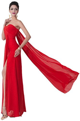 sunvary elegante gasa novia Vestidos de Fiesta Largo, con ribonn Sexy Front Sesgado Rosso