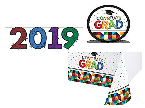 Plum Nellie's Treasures 2019 Graduation Party Decoration Supply Pack: Table Cloth, X-Large 2019 Banner, Table Centerpiece, Graduation Party Supplies Fractal Fun Design -