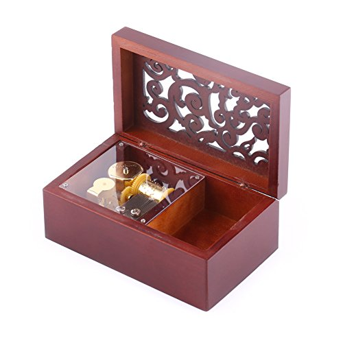 Wal front Caja Musical de Madera con Grabado Antiguo con Movimiento Chapado en Plata, Caja de Regalo de música, Gold...