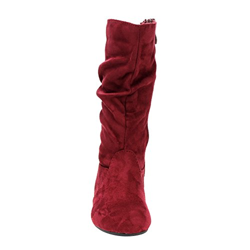 LINK GD92 Girl's Mid-Calf Solid Color Flat Heel Slouch Boots Photo #9
