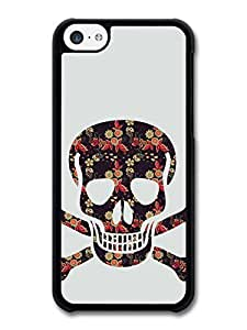 Hipster Floral Skull and Crossbones Cool case for iPhone 5C