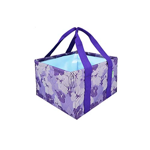 Folding Bucket, Collapsible Portable Household Multi-purpose Bucket, Outdoor Oxford Cloth Waterproof Car Wash Folding Bucket, Multi-color Optional (Color : Flower purple, Size : 16L)